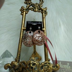 Taramanda Faux Carved Pink Jade Earrings